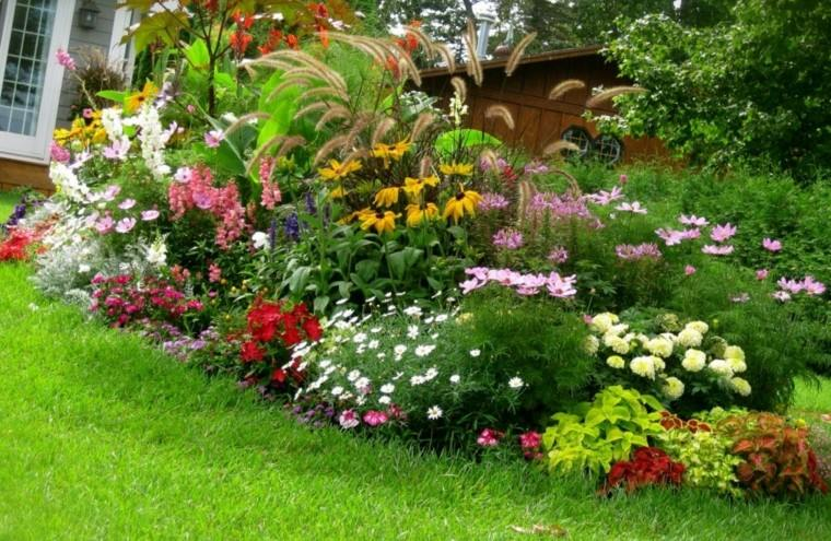 colores y diseño de jardines variado contraste cesped