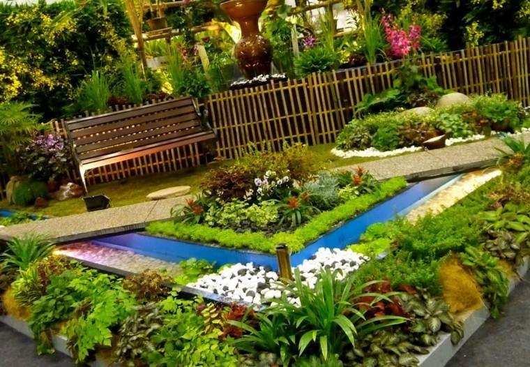 colores y diseño de jardines verde tonos geometrico