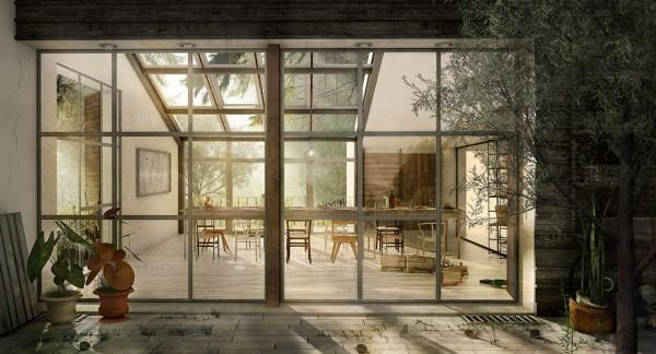 comedor cristalera terraza madera patio