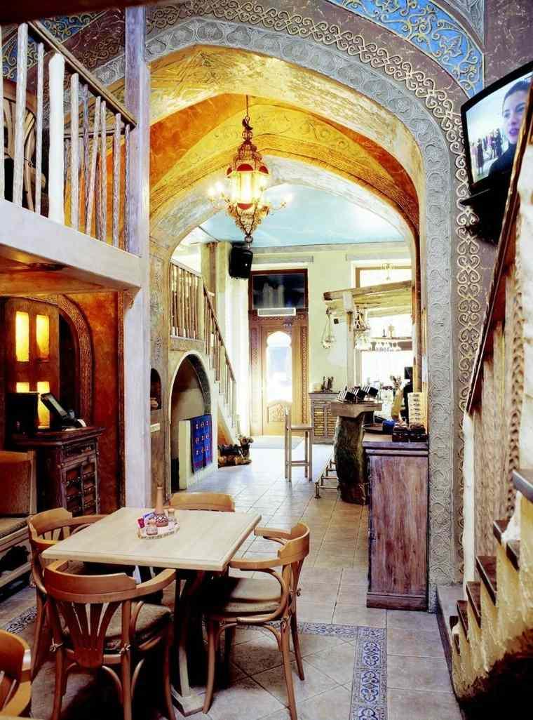 comedor estilo marroqui azulejos muebles ideas rusticos