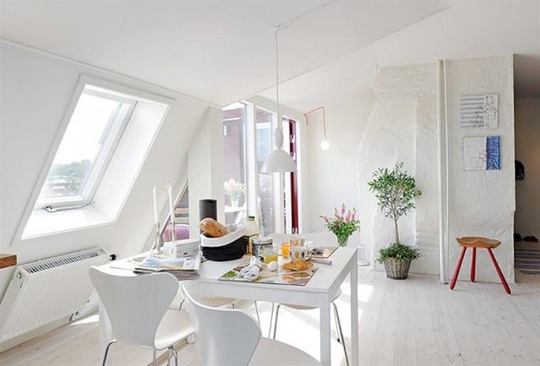 comedor estrecho mesa sillas blancas modernas ideas