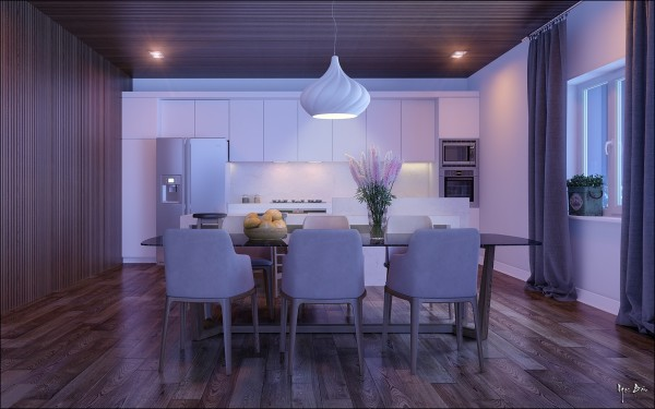 comedor mesa sillas luz lila