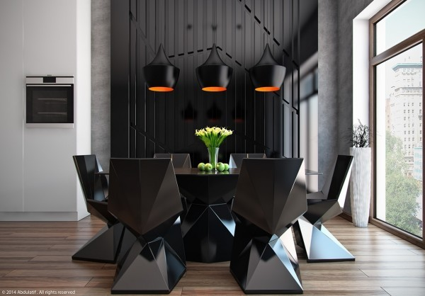 comedor original diseño color negro