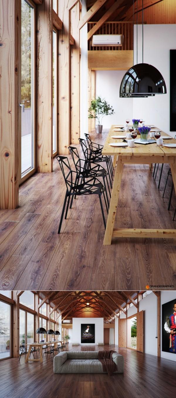 comedor rústico mesa alta madera