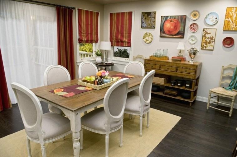 comedor pequeño rustico sillas blancas pies mesa madera