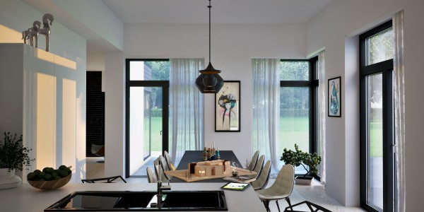 comedor salón cortinas blancas sillas