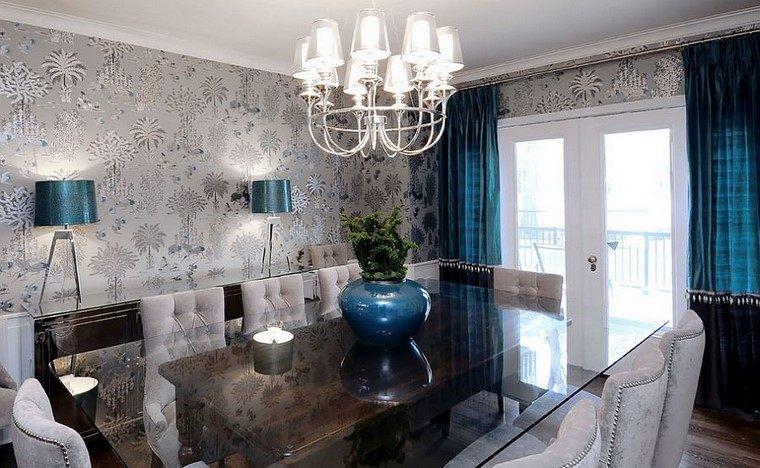 comedores y decoración jarron azul lampara cristal