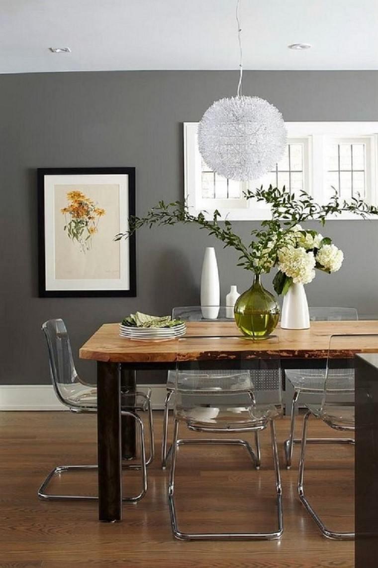 comedores y decoración jarron plantas mesa cuadro