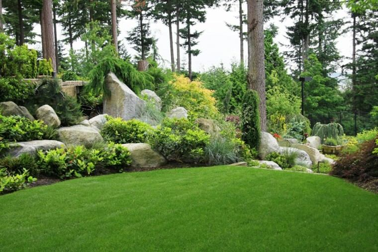 como diseñar un jardin cesped rocas arboles