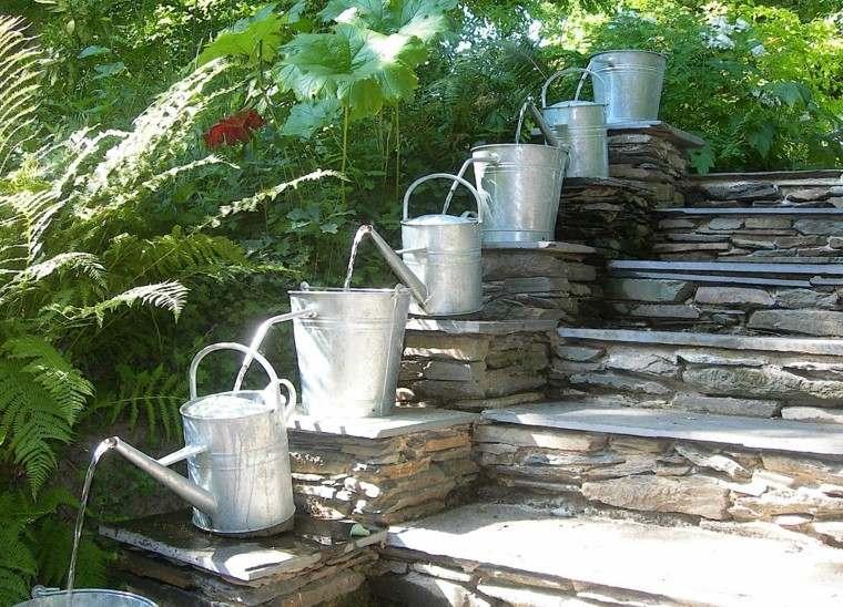 como diseñar un jardin creativo agua efecto