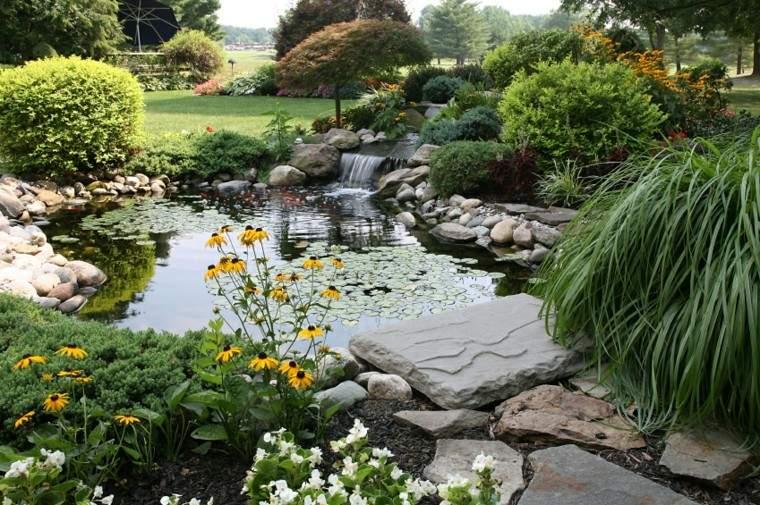 como diseñar un jardin laguna estanque lajas