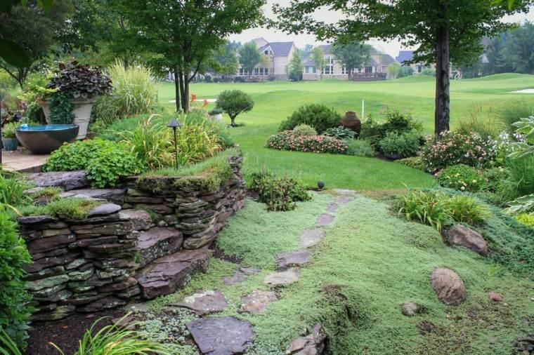 como diseñar un jardin rocas espacio camino