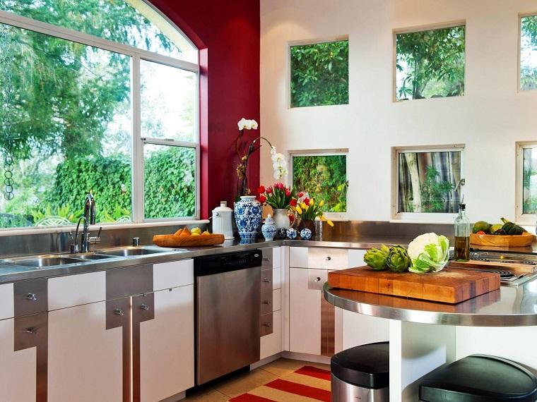 como disenar una cocina ventanales decoracion flores ideas