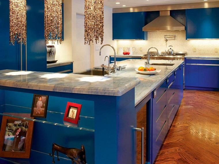 como disenar una cocina azul marmol encimera ideas