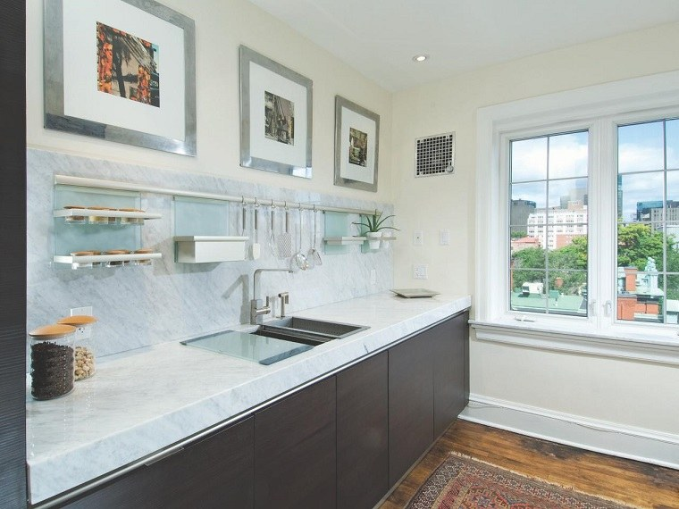 como disenar una cocina encimera marmol cuadros moderna ideas