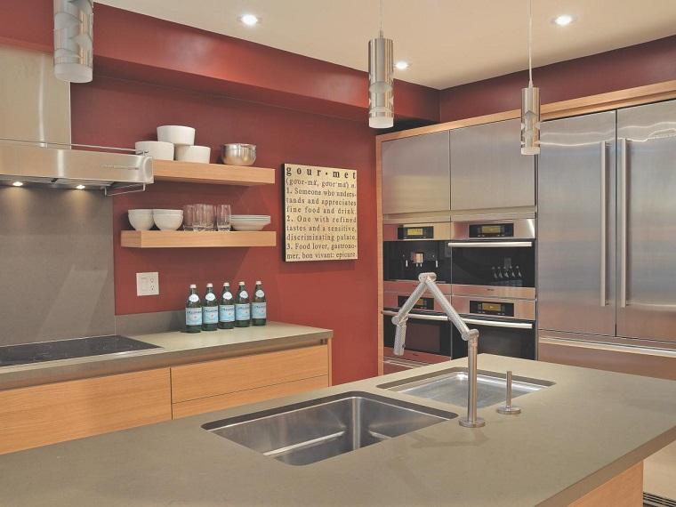 como disenar una cocina grifos modernos pared ideas naranja