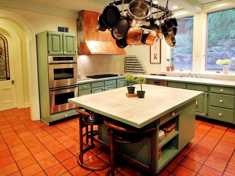 como disenar una cocina isla muebles color verde ideas