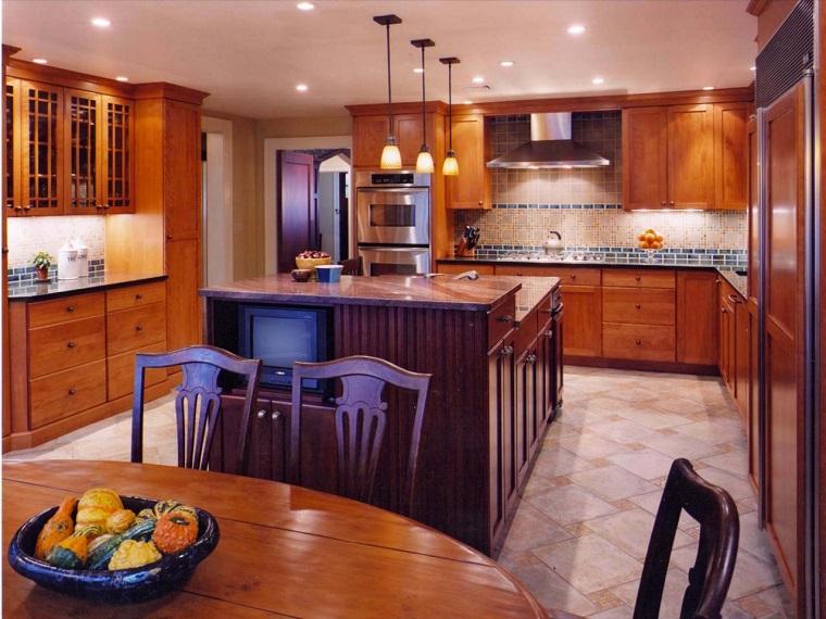 como disenar una cocina muebles madera isla amplia ideas