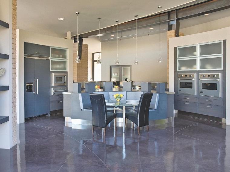 como disenar una cocina varios espacios gris ideas
