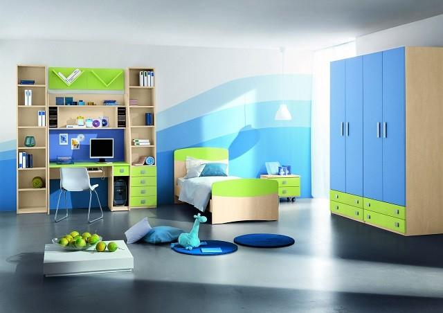 computadora niño juegos cama azul diseño