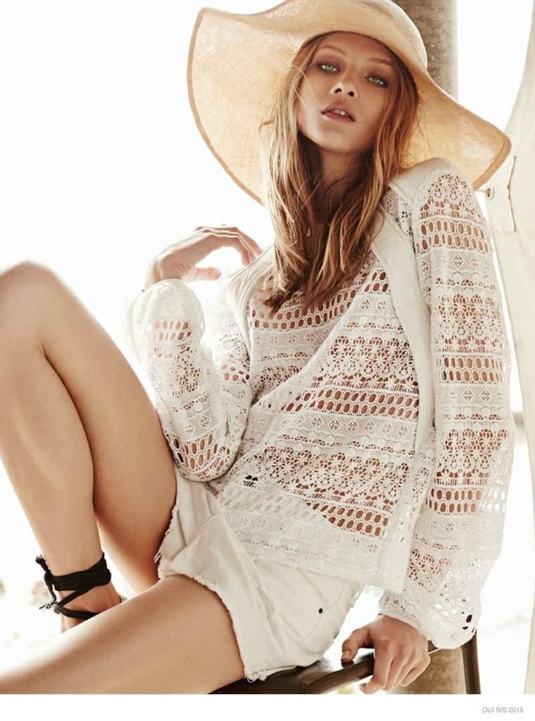 conjunto blanco sombrero paja shorts