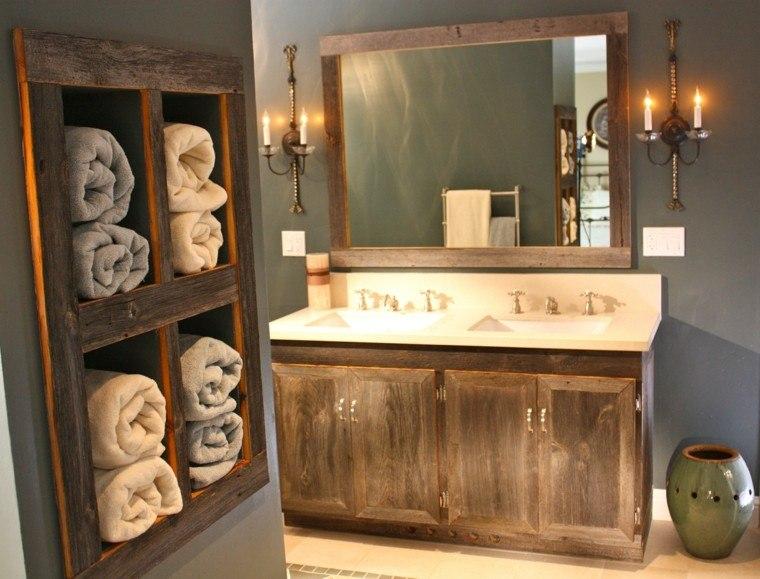 conjunto madera muebles baño retro