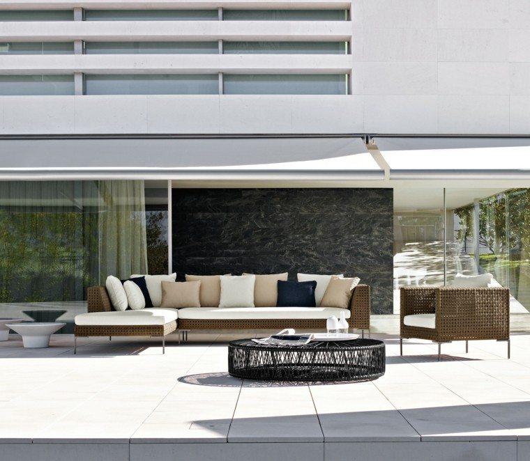 conjunto muebles jardin mimbre sofa