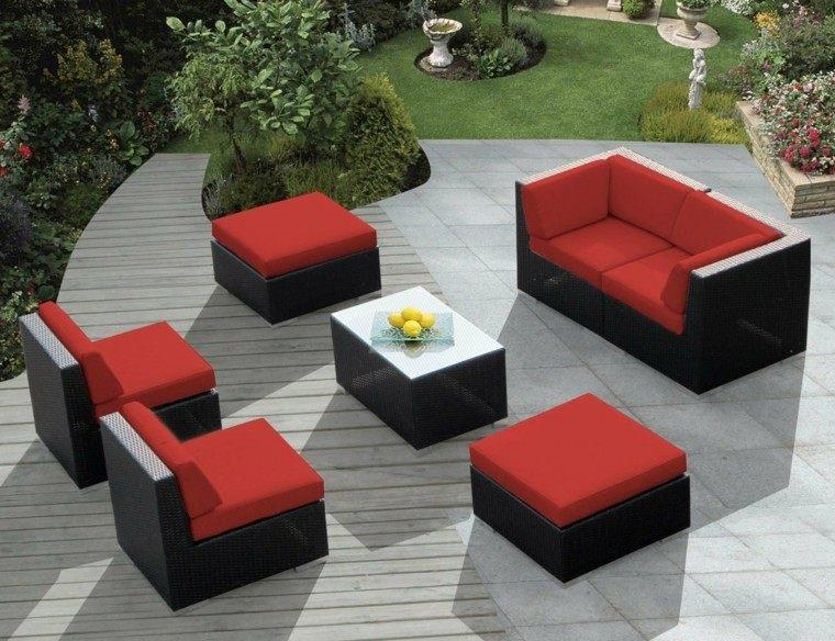 conjunto muebles mimbre negro rojo