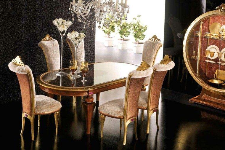 conjunto sillas mesa beige y oro