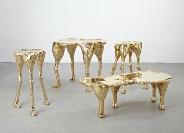 conjunto taburetes bancos dorados patas
