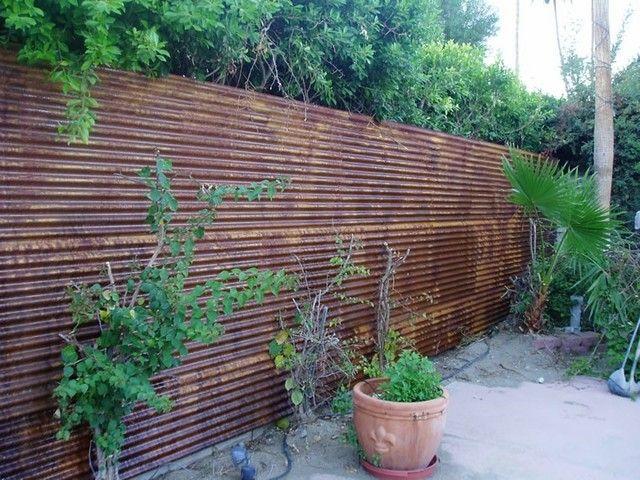 corten corrugado muro jardin macetas