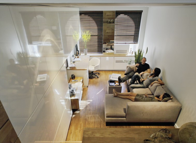crea habitacion pequena pared plastico blanca idea