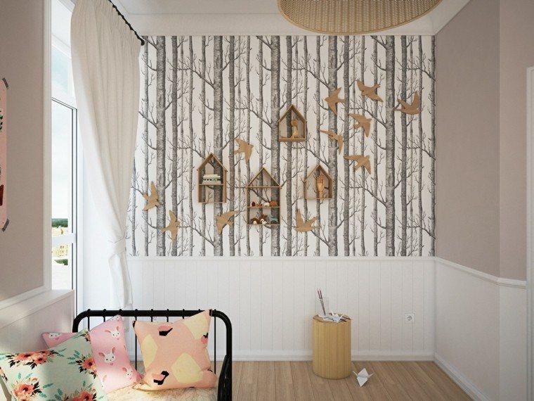 creatividad para dormitorios infantiles cartones arboles pared