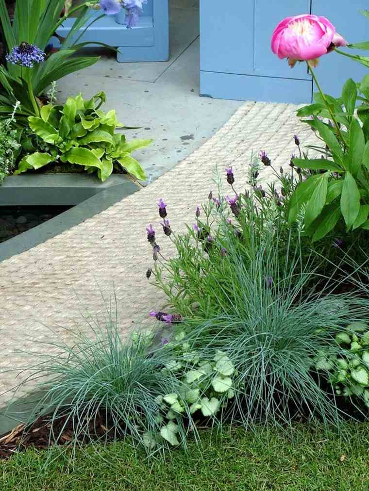creativo flores muebles azul hormigon