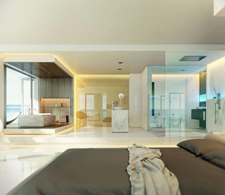cristal baño moderno marmol cama
