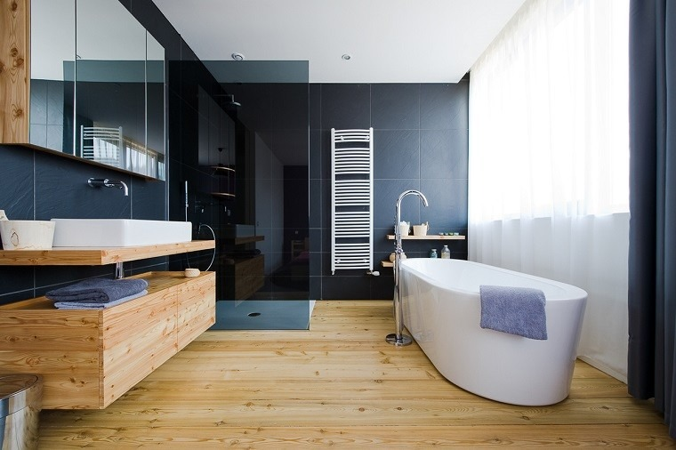 cuarto de ba o madera calidez y confort en casa. Black Bedroom Furniture Sets. Home Design Ideas