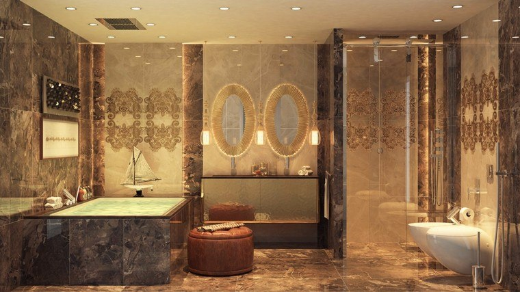 cuarto de baño de diseño barco bañera espejos