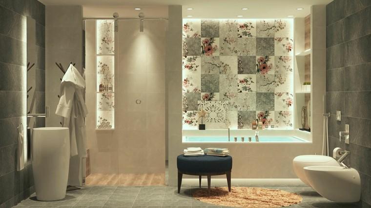 cuarto de baño de diseño floral azulejo mueble