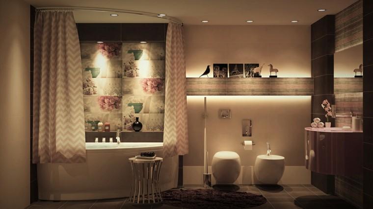 cuarto de baño de diseño floral cortinas luces