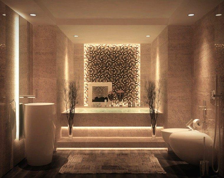 cuarto de baño de diseño luces azulejos plantas