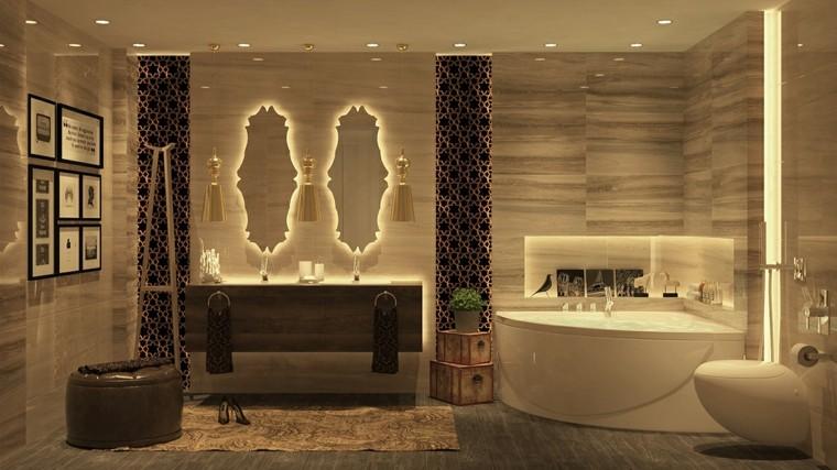 cuarto de baño de diseño lujo cortinas pajaros