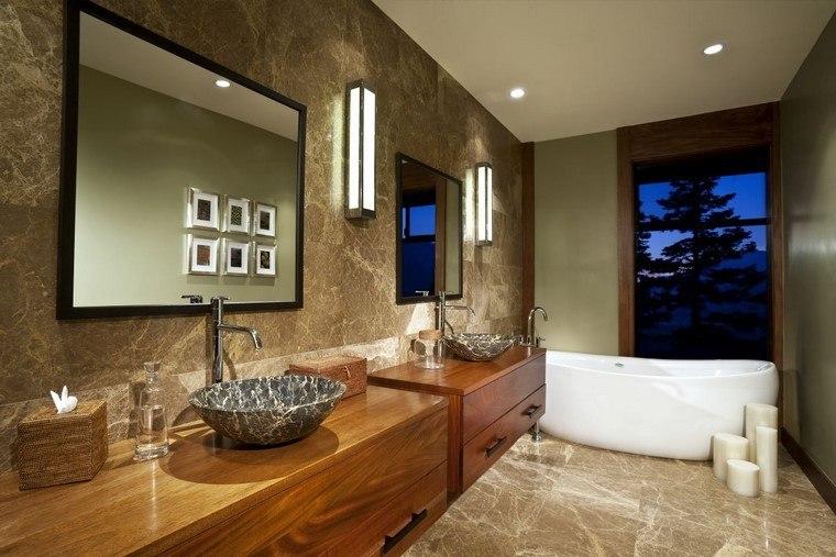 cuarto de baño espejo accesorios madera espejo