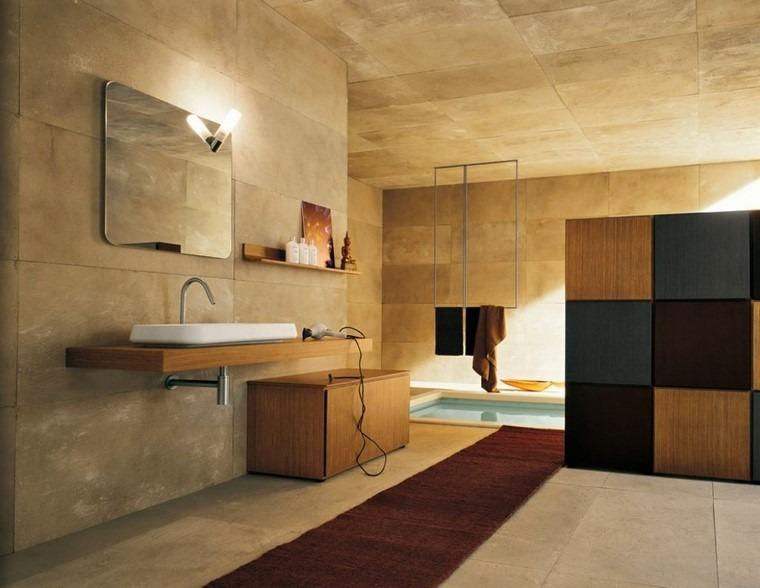 cuarto de baño estante madera lavabo espejo