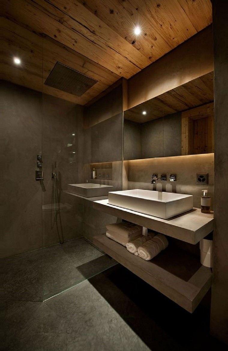 cuarto de baño techo led luces toallas