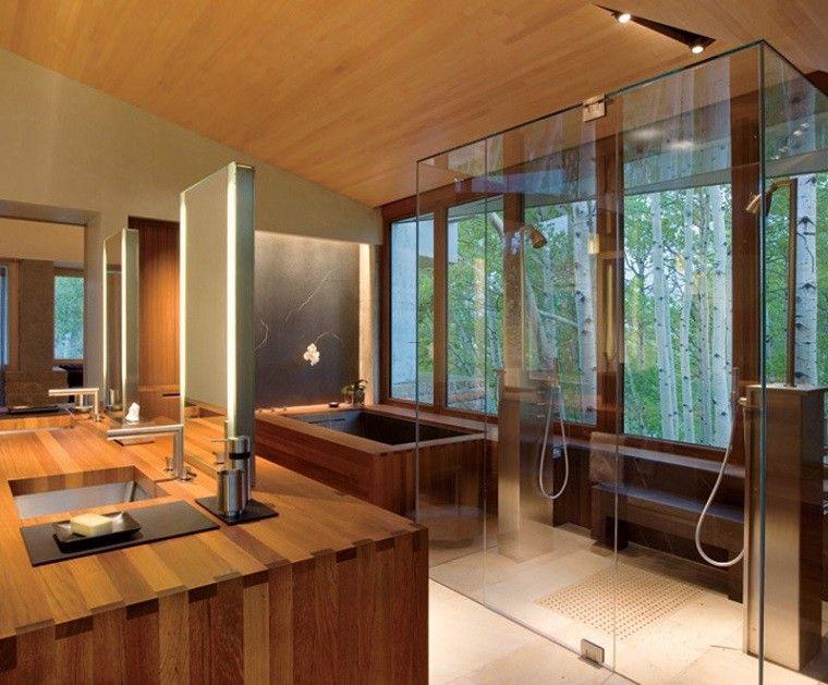 cuarto de baño techo madera lavabo led