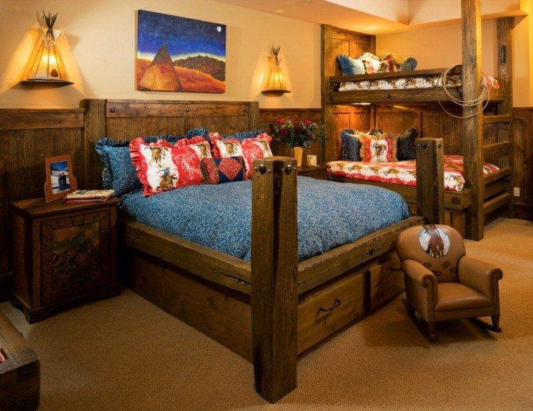 dormitorio infantil de diseo rstico cuarto infantil mecedora madera dosel