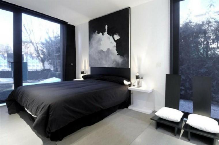 cuarto soltero cama negra cuadro