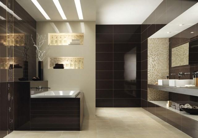 cuartos de baño bañera madera marron tonos