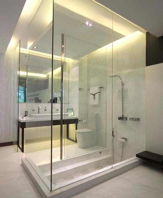 cuartos de bao ducha cabina cristal led luces