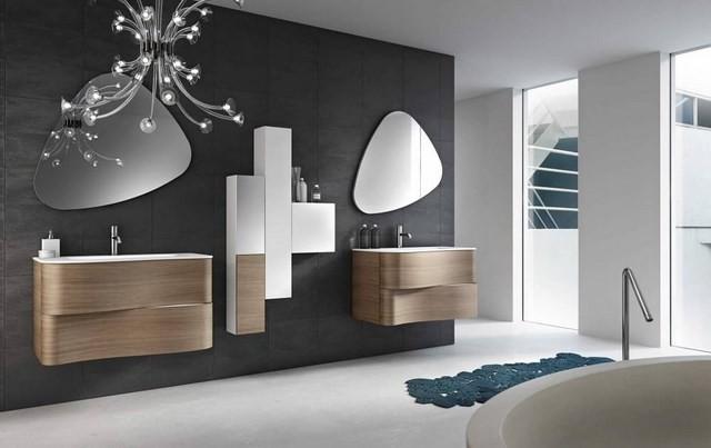 cuartos de baño espejos lampara madera